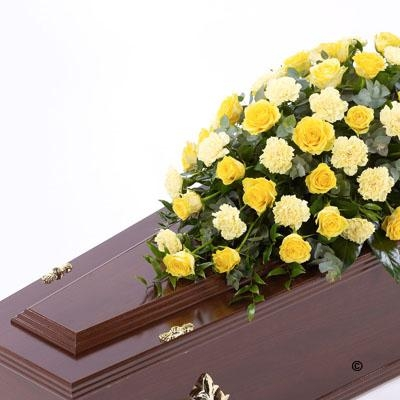Rose and Carnation Casket Spray   Yellow
